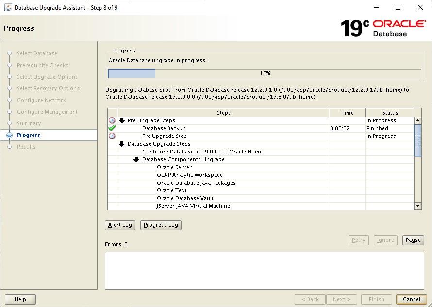 oracle 12c to 19c database upgrade - oracle database upgrade progress