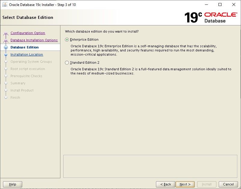 oracle database 19c installer - enterprise edition
