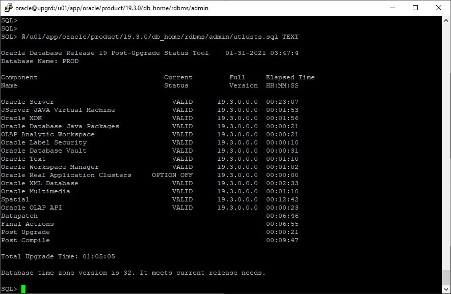 oracle 12c to 19c database upgrade - utlusts.sql