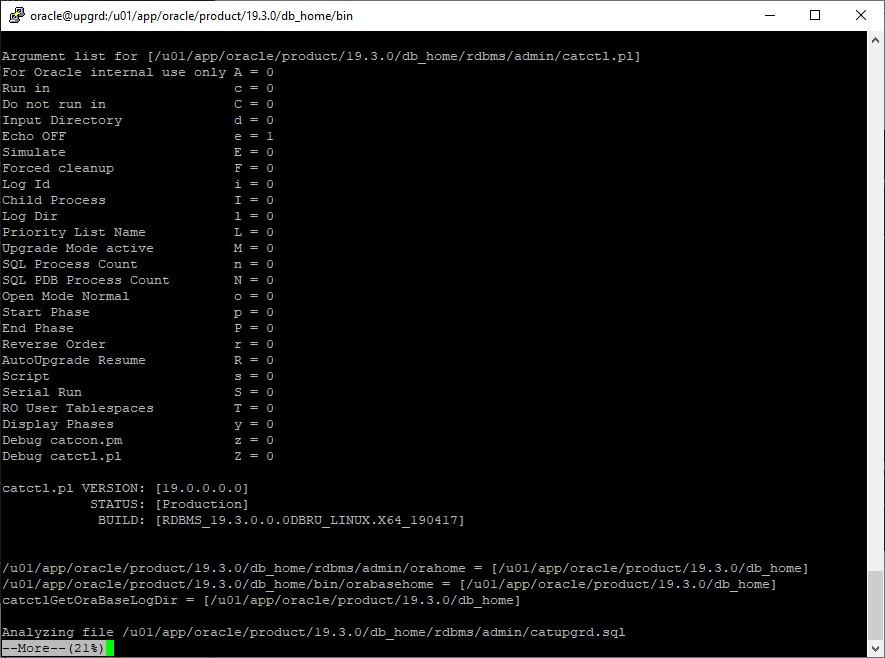 oracle 12c to 19c database upgrade - monitor upgrade log