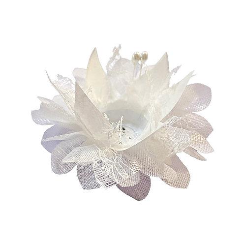 Magnolia Fabric Flower Shell - White