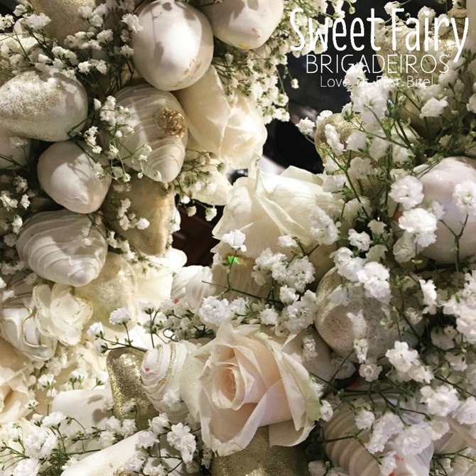 Custom White Chocolate Strawberry Tower with Fresh Flowers