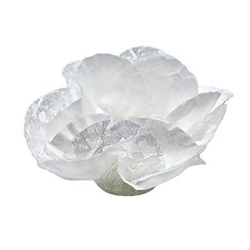 White Fabric Flower Shell