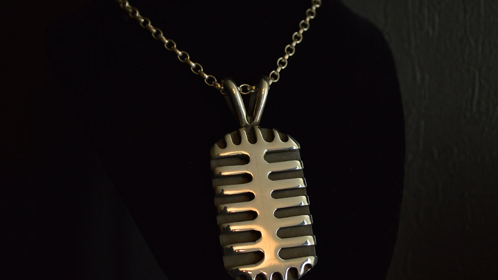 Shure 55 Microphone Pendant 14k White Gold