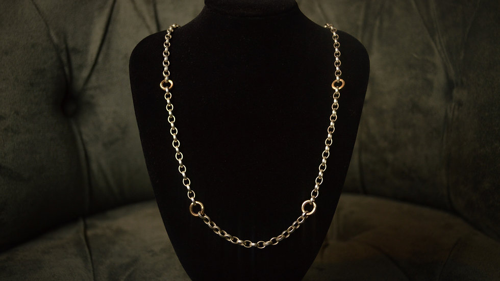 24 Inch Silver and 9 Karat Gold Chain