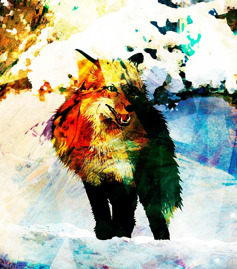 Målning av varg i snö