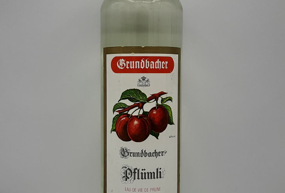 Grundbacher Pflumli Eau de Vie Prune Swiss Litre