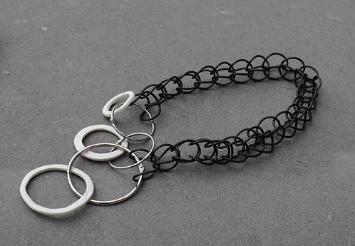Black And White Hoop Necklace