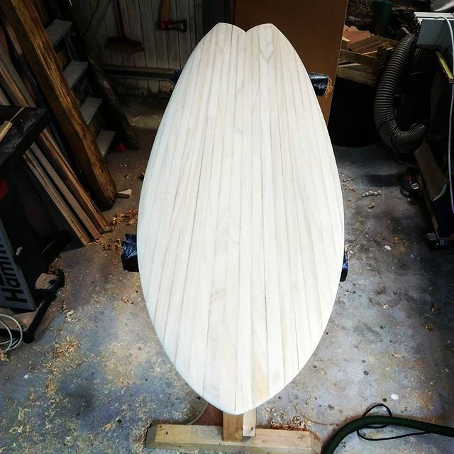 Wood fish 5'8 #woodsurfboard , #gawoodsurfboard #surfboards  #handshaped #shape #workinprogress #fis