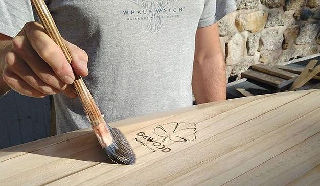 Gawood surf board bois ecologique vernis
