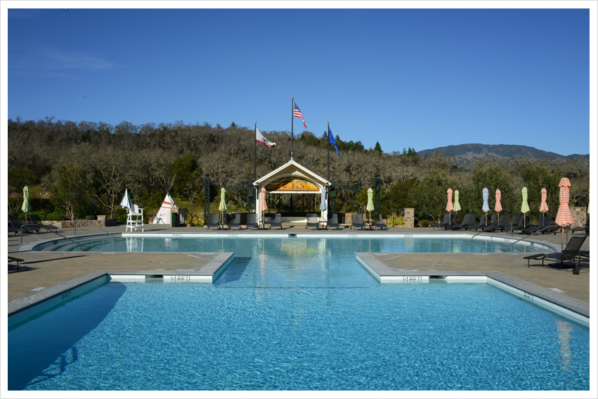 Coppola Winery Cardinal Transportation Wine Tours Pool view