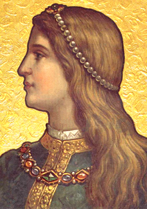 19th-century depiction of Inês de Castro, on the ceiling of the Kings' Room, Quinta da Regaleira, Sintra, Portugal.