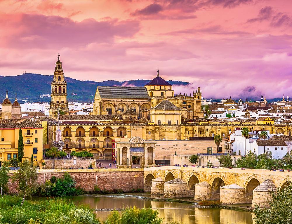the Mezquita and Roman Bridge in Cordoba Spain