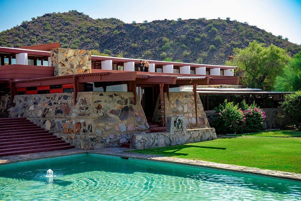 Taliesin West, which Wright built  in Arizona as his winter home in 1937