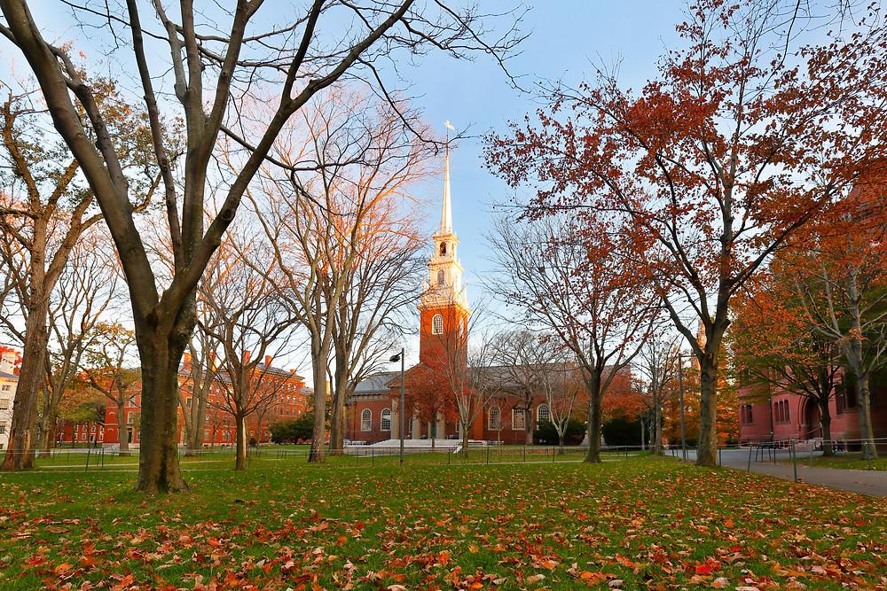 Memorial Church and Harvard Yard in Cambridge
