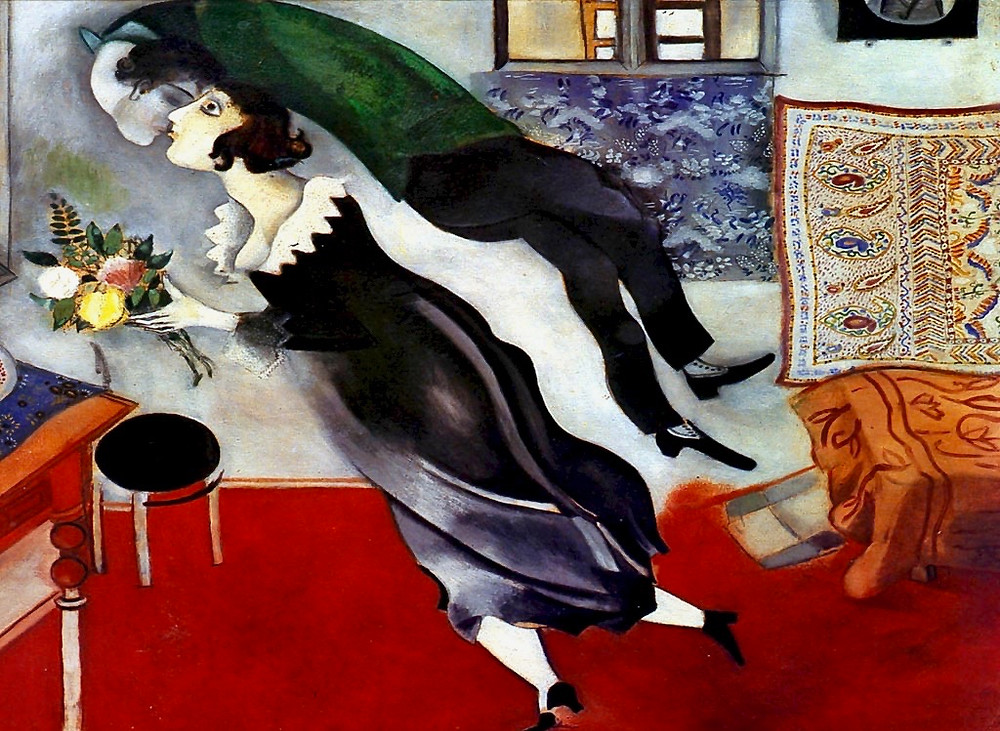 Marc Chagall, The Birthday, 1887, a gorgeous painting in Bilbao's Guggenheim Museum
