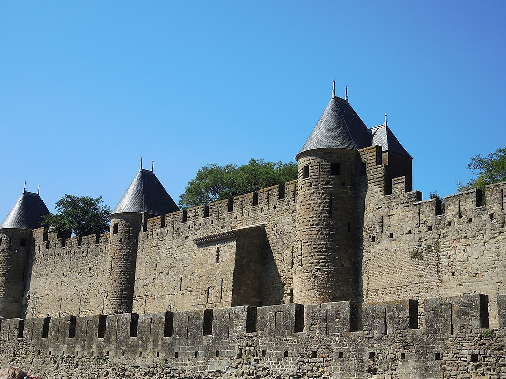 double walls and turrets of majestic Carcassonne