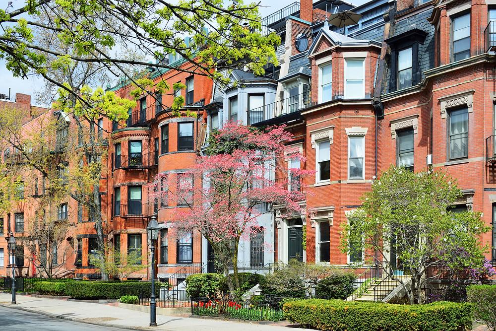 row homes in Boston's Back Bay neighborhood
