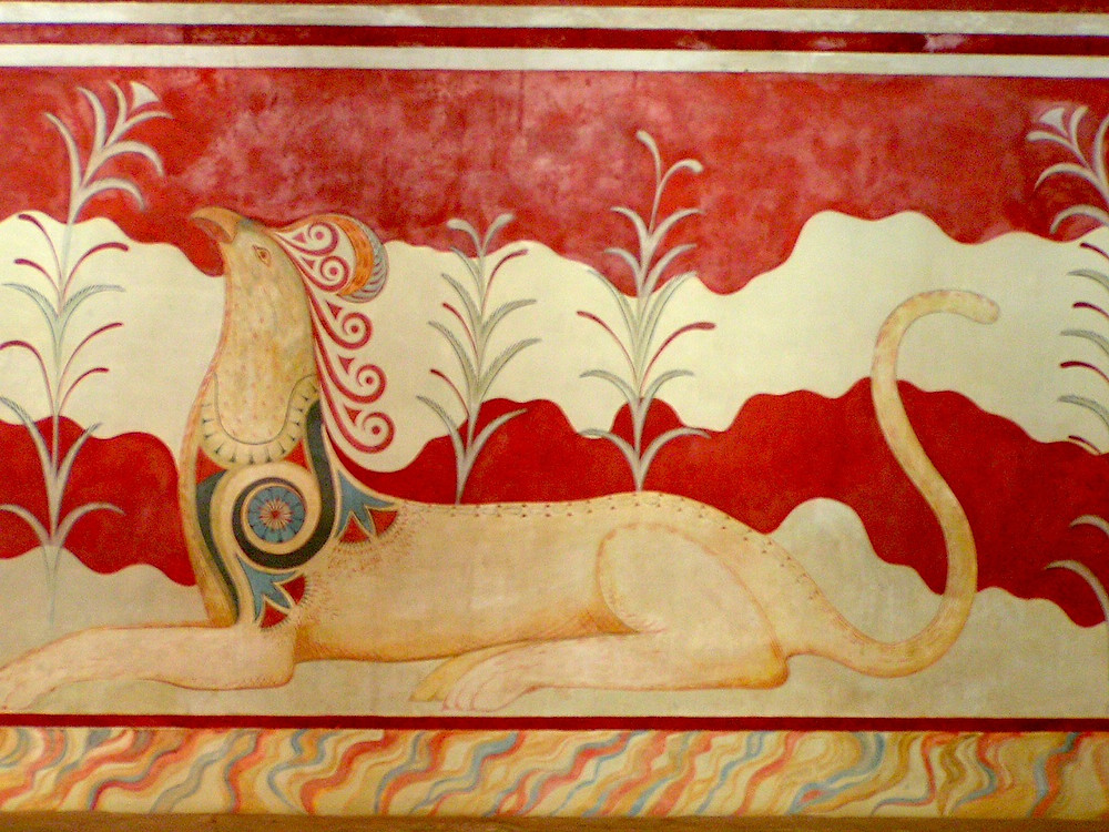 the reimagined griffin fresco in the Knossos throne room