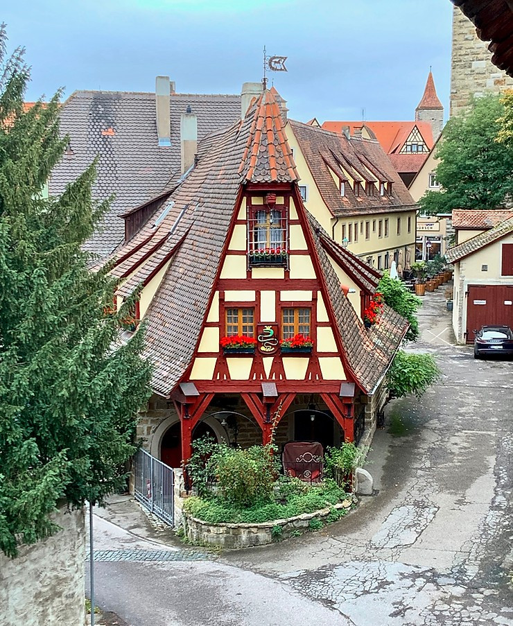 the old Blacksmith's Shop, as seen from the city walls of Rothenburg