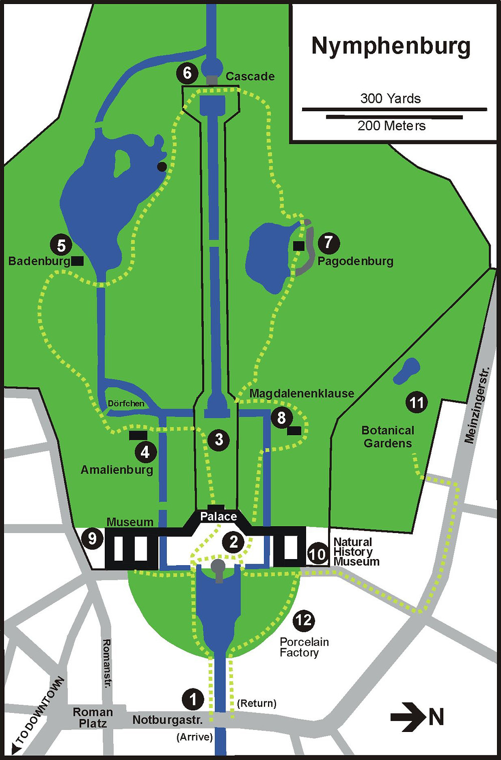 map of Nymphenburg Palace and the Palace Park
