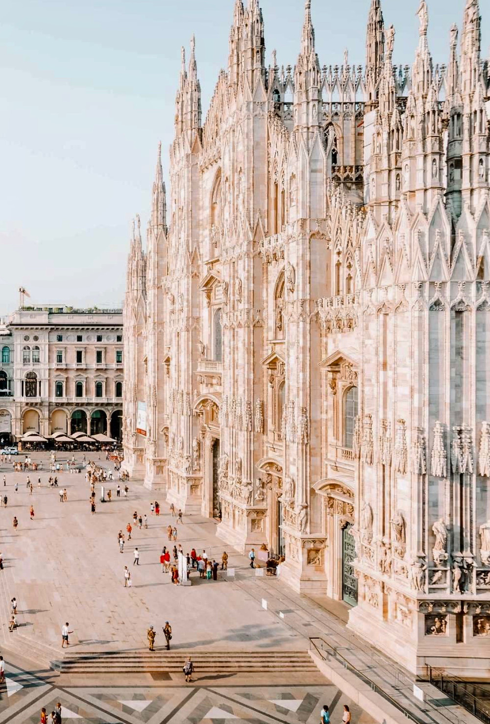 the Gothic facade of the Duomo, Milan's Cathedral
