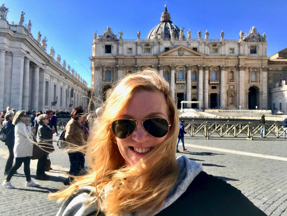 enjoying Vatican City on a blustery day in Rome