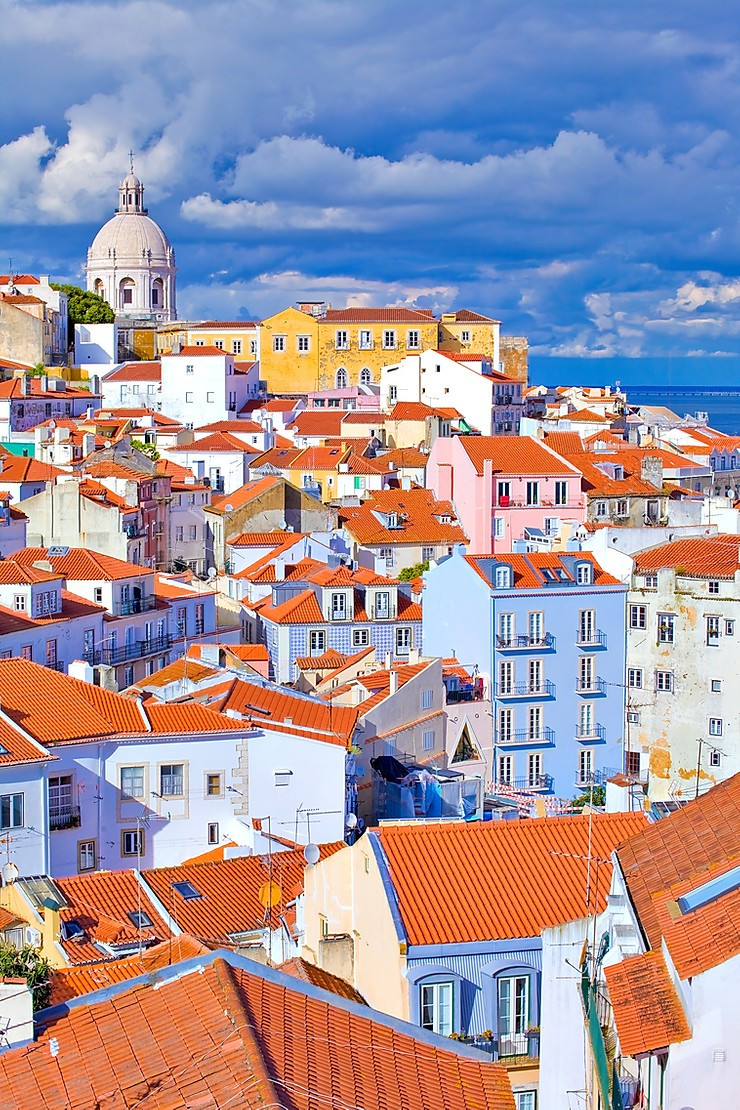 pastel houses in Lisbon's Alfama district