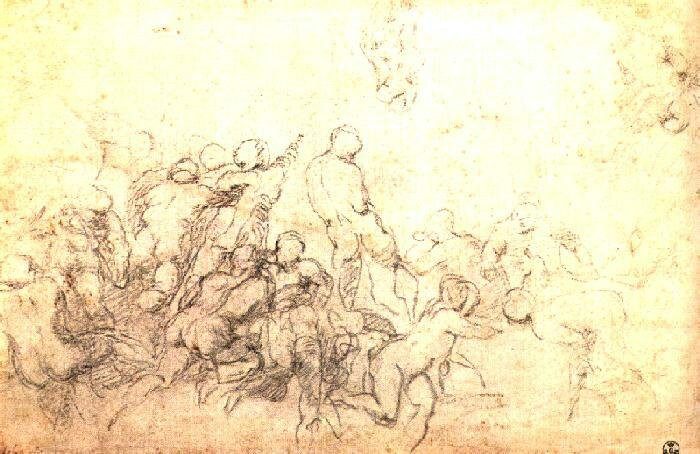 a Michelangelo study for the Battle of Cascina, in the Uffizi Gallery