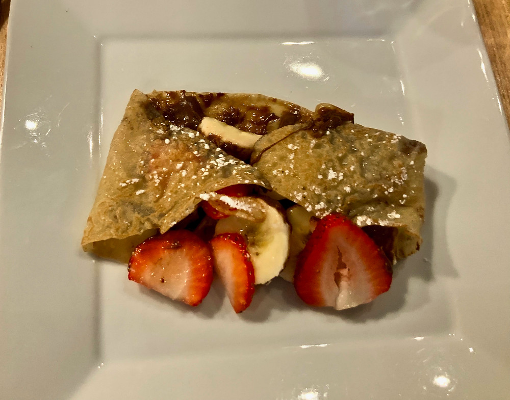 strawberry, banana, and chocolate crepes at Juliette & Chocolate