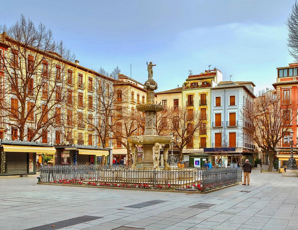 Plaza de Bib-Ramble near Granada Cathedral