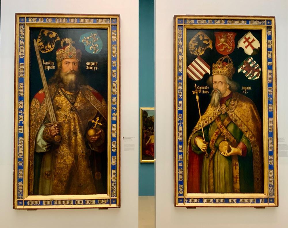 Albrecht Durer, Emperor Charlemagne and Emperor Sigismund, 1512 -- very fierce looking monarchs