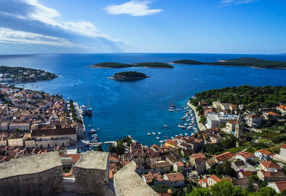 view of Hvar from the hilltop fortress