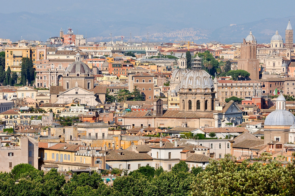 Panoramic view of Rome from the Janiculum terrace