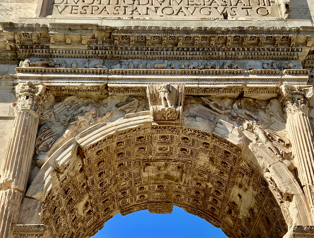 the inner arch of the Arch of Titus, which marks the entrance to the Roman Forum