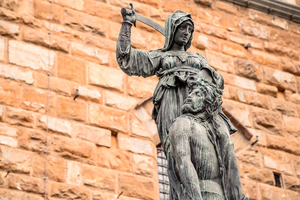 a copy of Donatello's Judith and Holofernes in the Piazza della Signoria