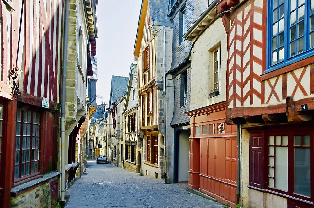 street in the historic village of Vitre in Brittany France