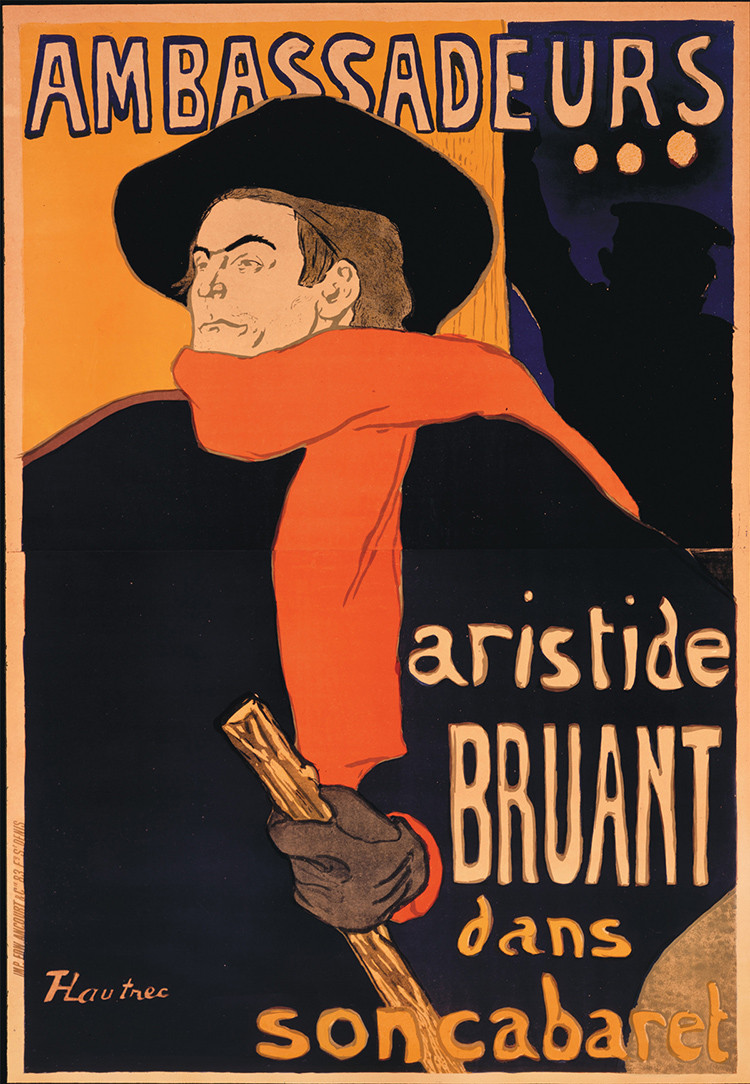 Toulouse-Lautrec, Aristide Bruant, 1892 -- Bruant's sponsors disliked the poster but Bruant loved it and insisted he wouldn't perform unless it was accepted