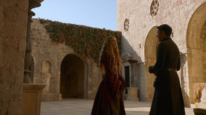 """The confrontation between Cersei Lannister and Littlefinger, Petyr Baelish, in the Red Keep on Game of Thrones. Littlefinger says """"knowledge is power."""" Cersei counters with """"power is power."""""""