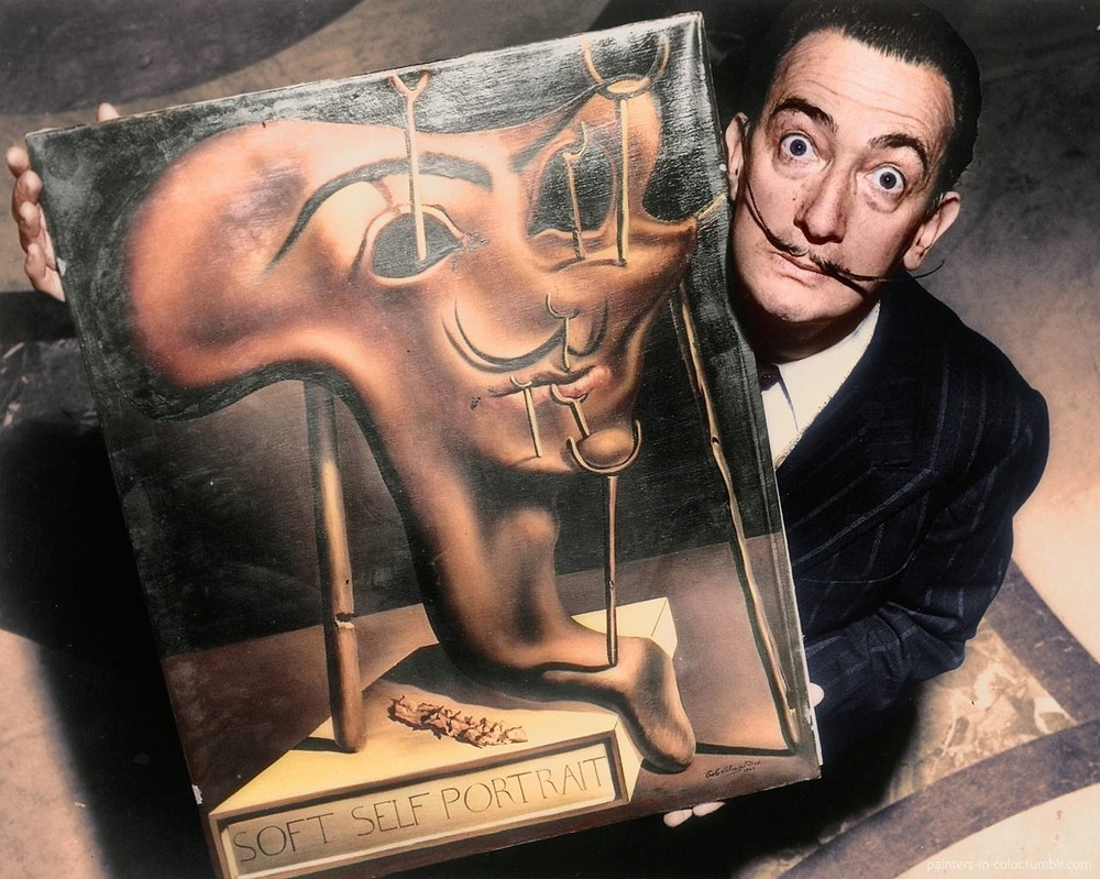 Dali with his famous Soft Self Portrait With Bacon from 1941