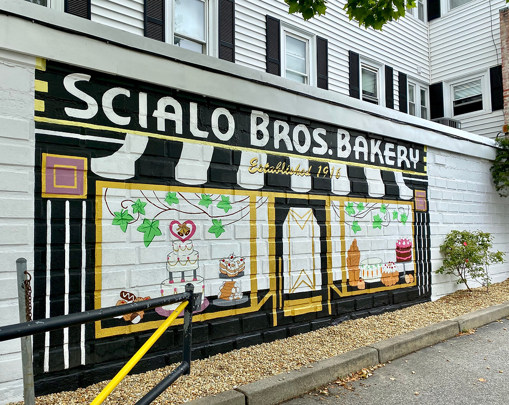 mural on the wall of Federal Hill's most adorable bakery