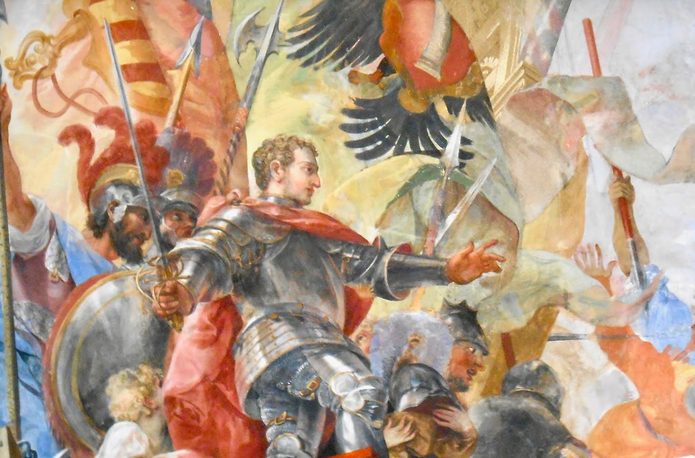 fresco detail of Colonna family scion and warrior Marcantonio II Colonna