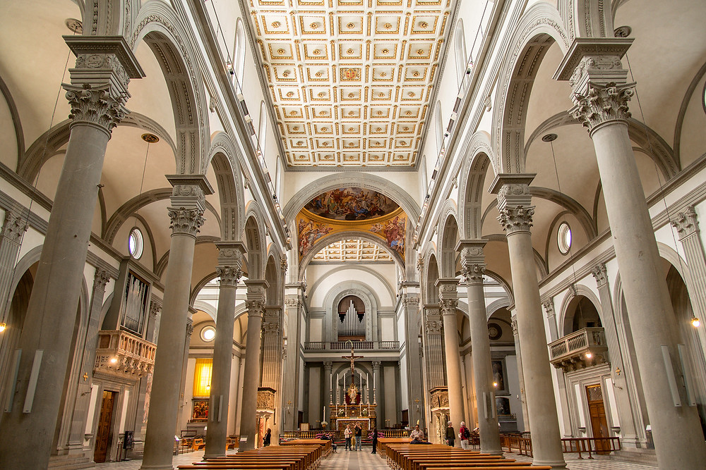 the Brunelleschi-designed interior of the Basilica of San Lorenzo