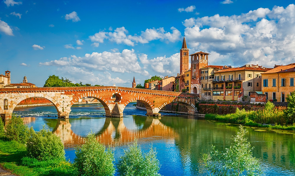 panoramic view of the Ponte Pietra on the Adige River in Verona