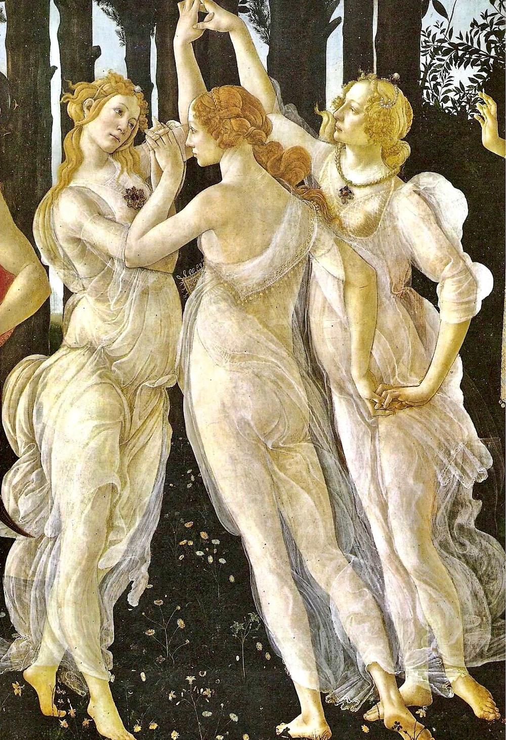 Botticelli's The Three Graces in his painting Primavera