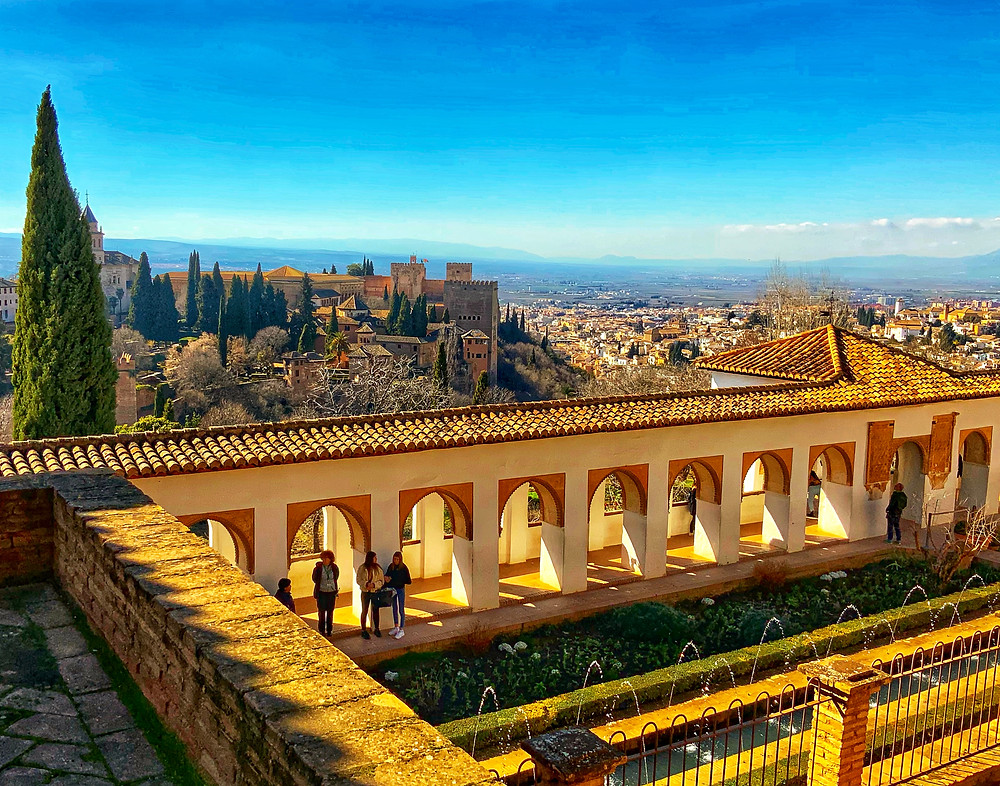views of the Alhambra and Granada from the upper renaissance gardens of the Generalife