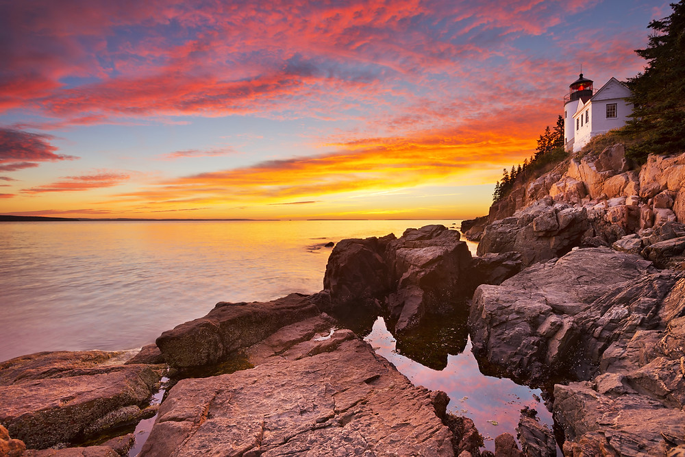 Bass Harbor Head Lighthouse in Acadia National Park at sunset