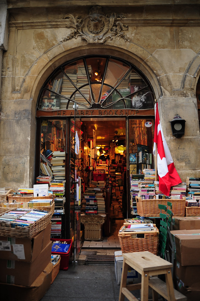 entrance to the Abbey Bookstore in Paris' Latin Quarter