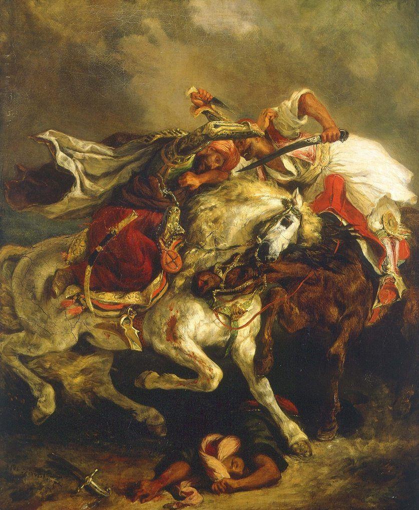 Combat du Giaour et du Pacha, by Eugène Delacroix, 1835, at the Petit Palais in Paris