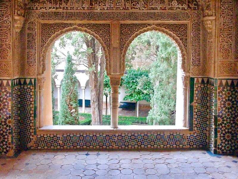 bay window in the Hall of the Two Sisters with a garden view